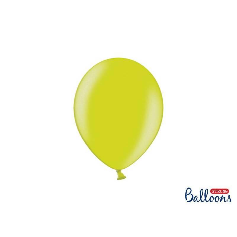 Ballons forts 23cm vert lime métallique