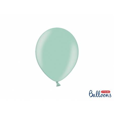 Ballons forts 23cm vert menthe métallisé