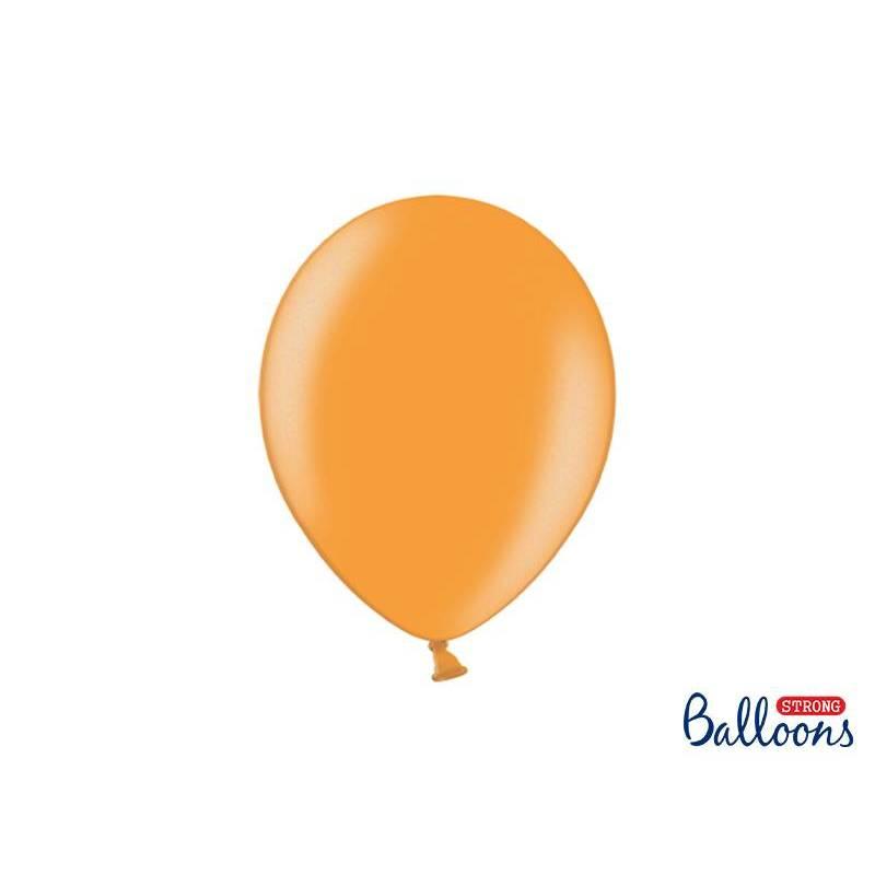 Ballons forts 27cm orange mandarine métallique