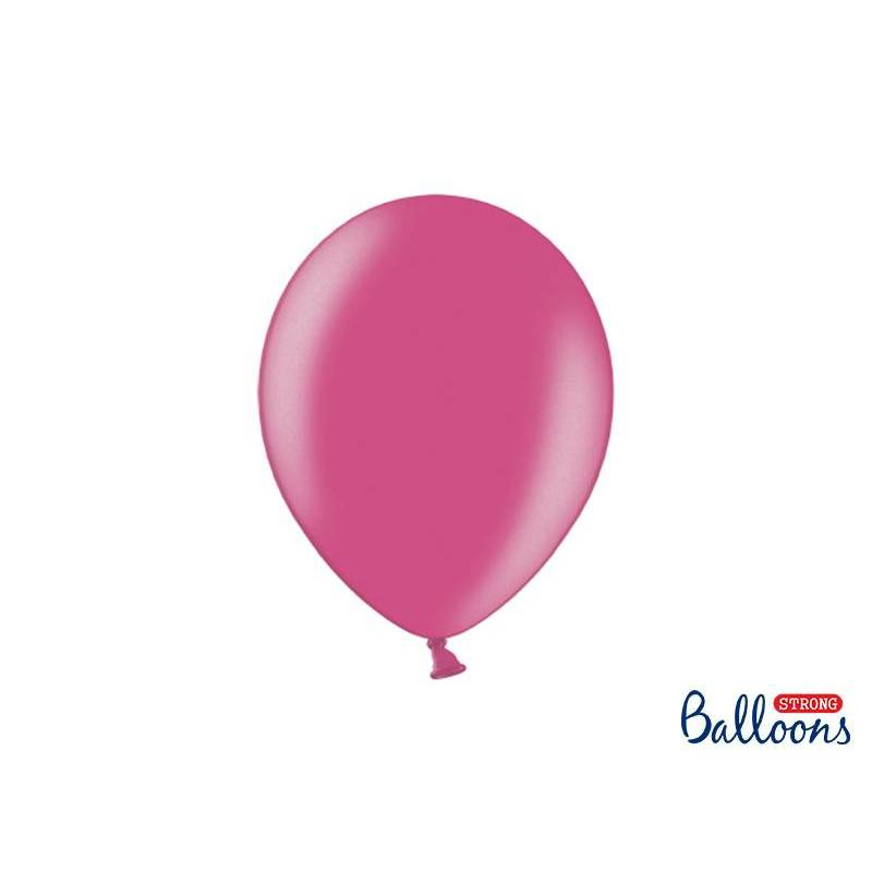 Ballons forts 27cm rose vif métallique