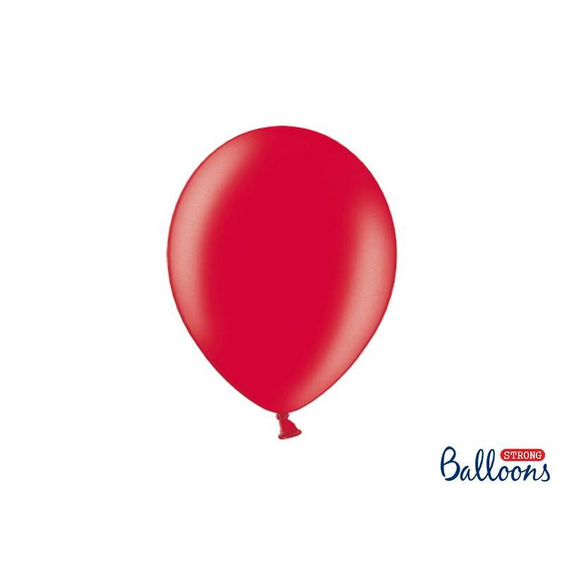 Ballons forts 27cm rouge pavot métallique