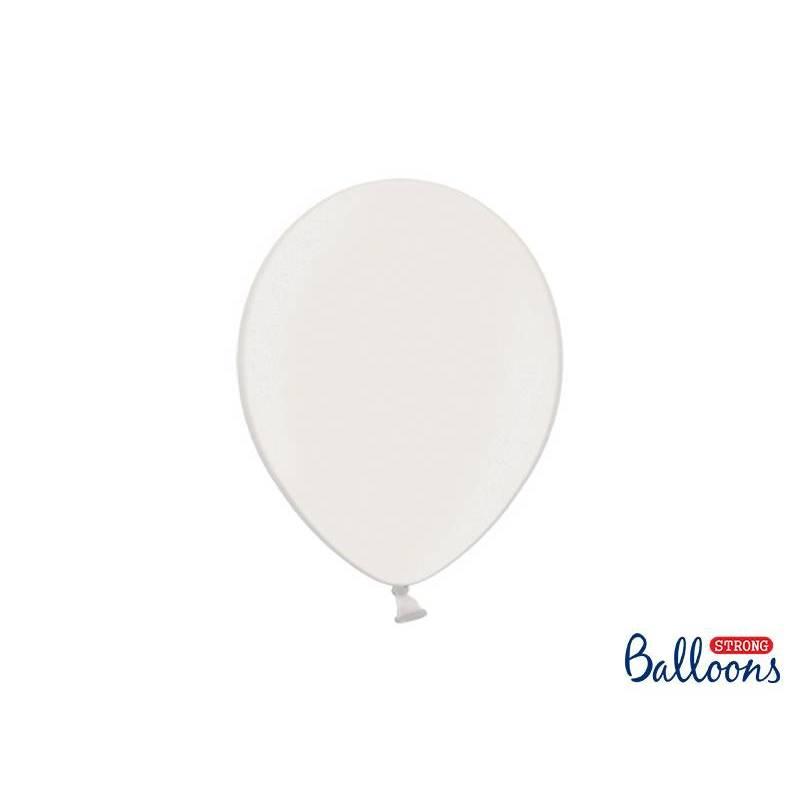 Ballons forts 27cm blanc pur métallisé