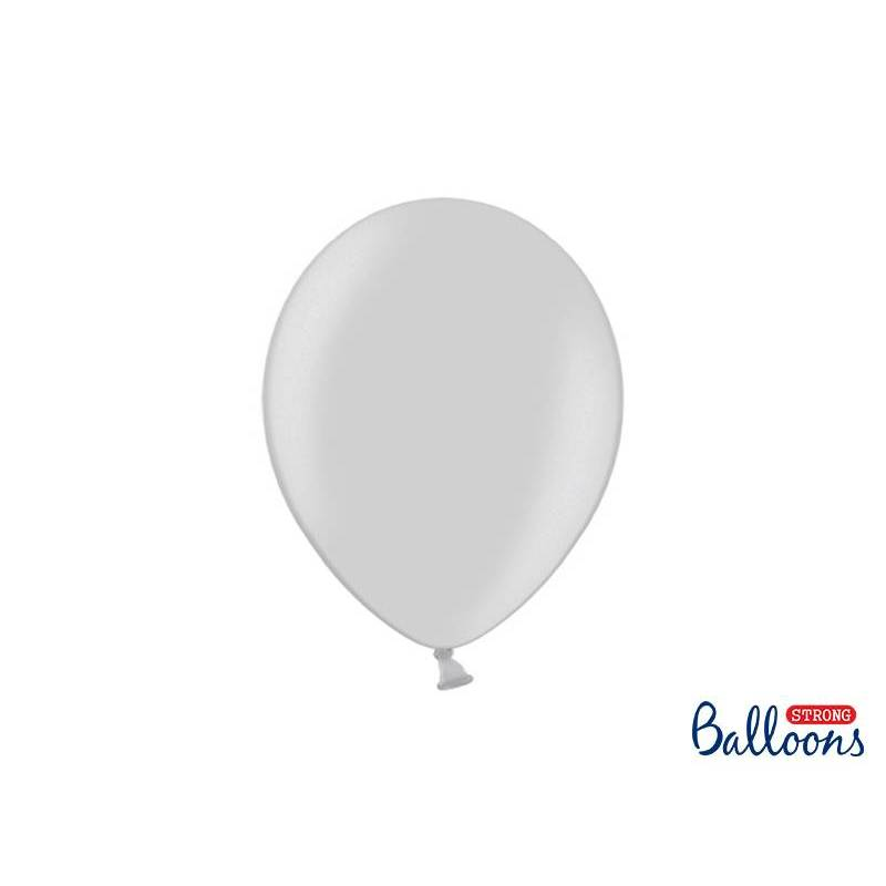 Ballons forts 27cm neige métallique argentée