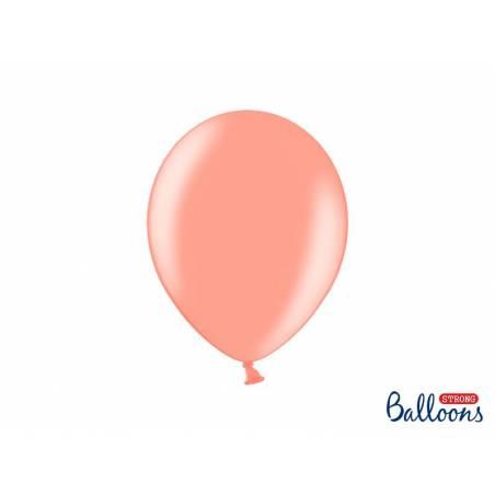 Ballons forts 27cm or rose métallique
