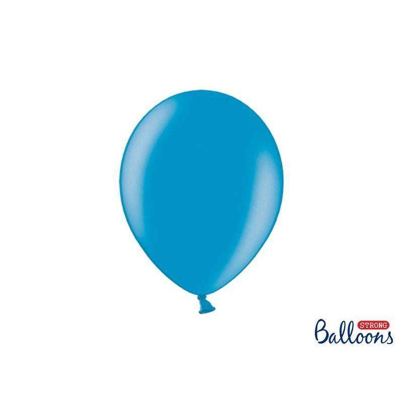 Ballons forts 27cm bleu métallisé des Caraïbes