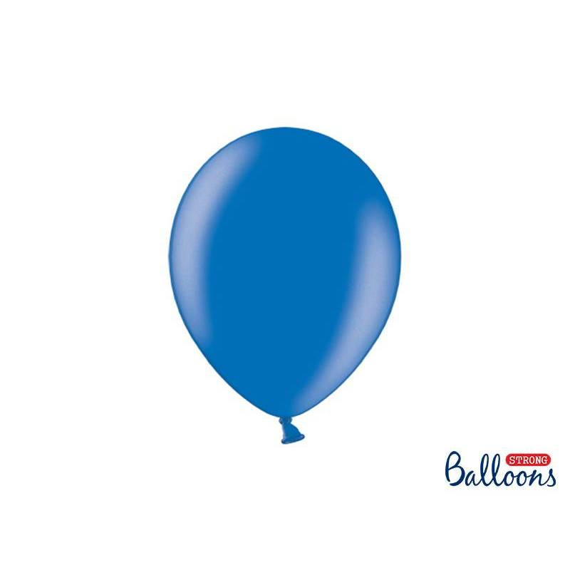 Ballons forts 27cm bleu métallique