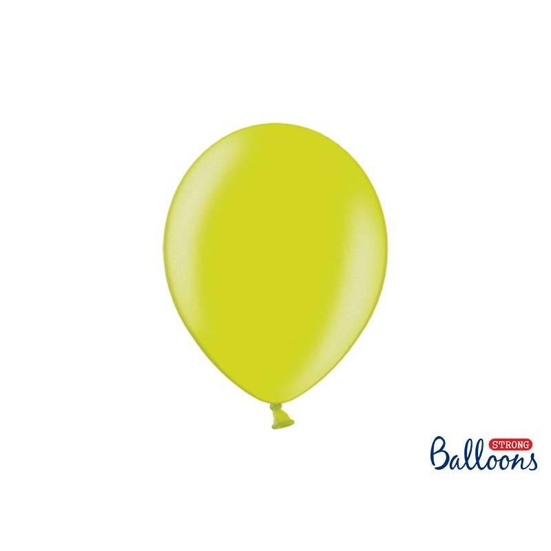 Ballons forts 27cm vert lime métallique