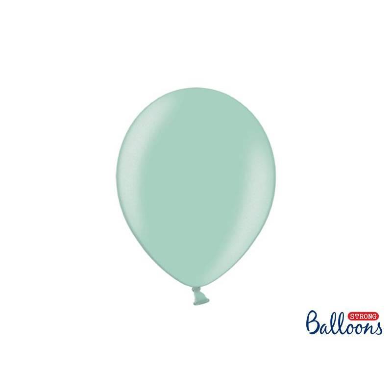 Ballons forts 27cm vert menthe métallisé