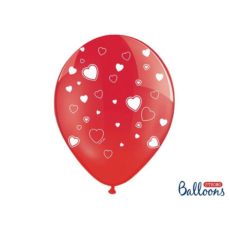 Ballons 30cm coeurs cristal de pavot rouge