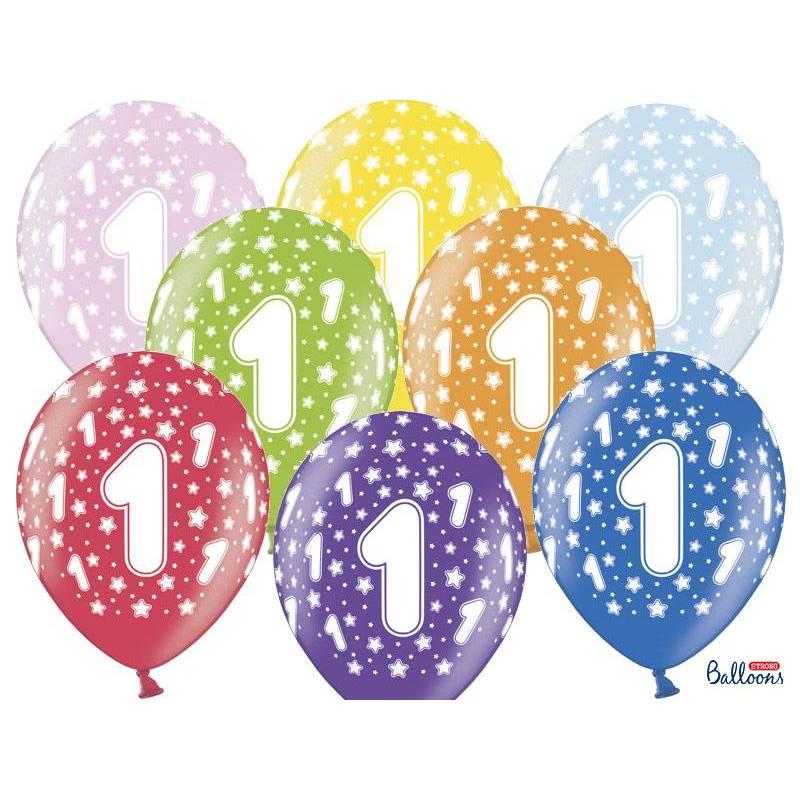 Ballons 30cm 1er anniversaire mélange métallique