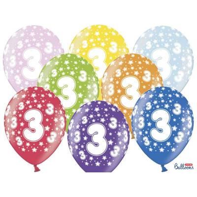 Ballons 30cm 3ème anniversaire mélange métallique