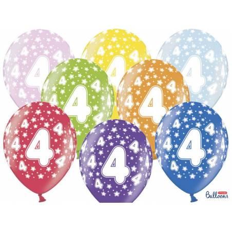 Ballons 30cm 4ème anniversaire mélange métallique