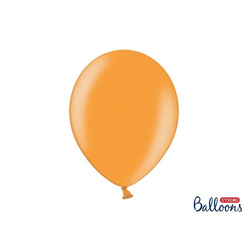 Ballons forts 30cm orange mandarine métallique