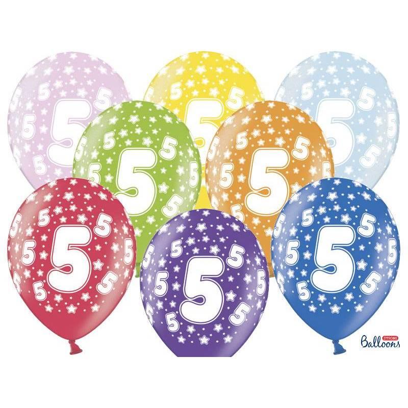 Ballons 30cm 5ème anniversaire mélange métallique