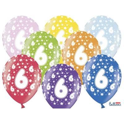 Ballons 30cm 6ème anniversaire mélange métallique
