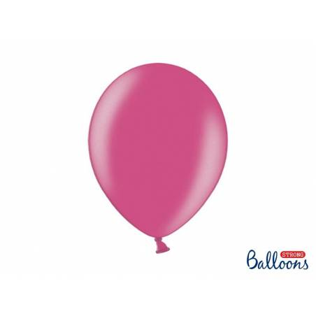 Ballons forts 30cm rose chaud métallique