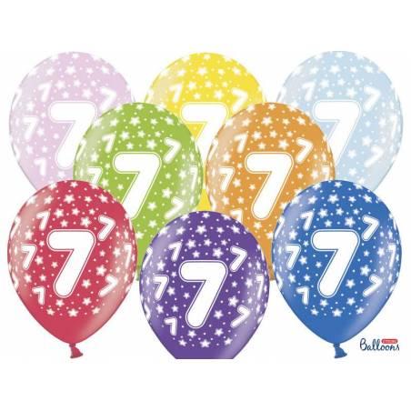 Ballons 30cm 7ème anniversaire mélange métallique
