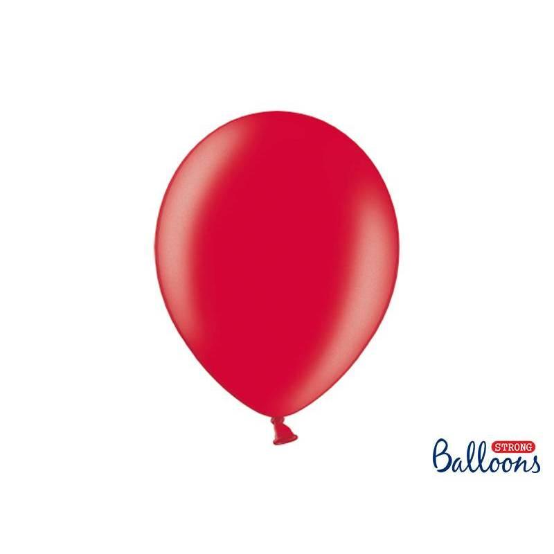 Ballons forts 30cm rouge pavot métallique