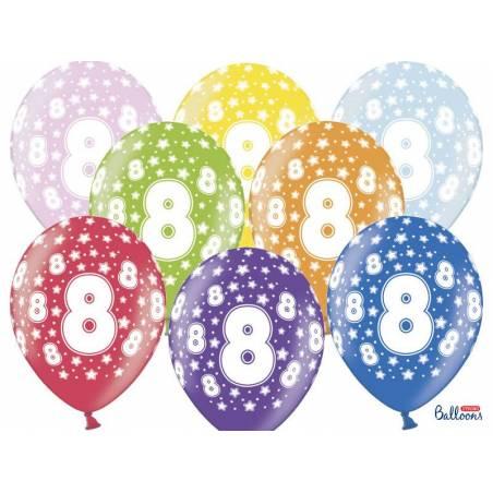 Ballons 30cm 8ème anniversaire mélange métallique