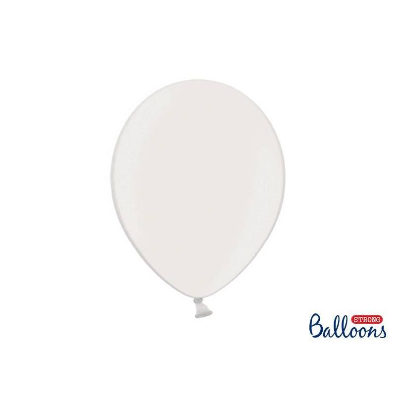 Ballons forts 30cm blanc pur métallique