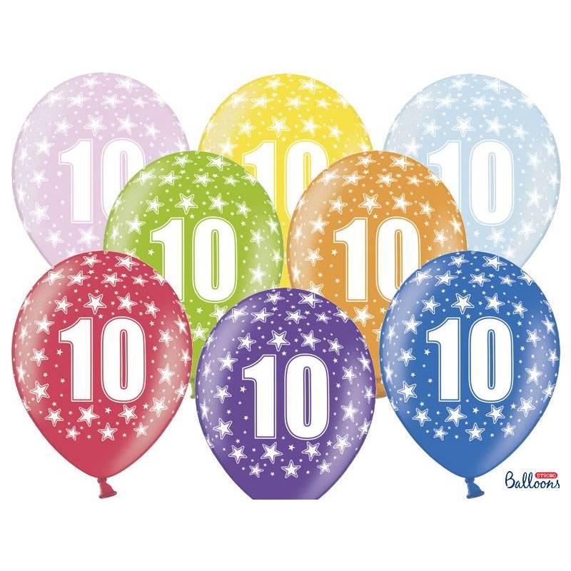 Ballons 30cm 10e anniversaire mélange métallique