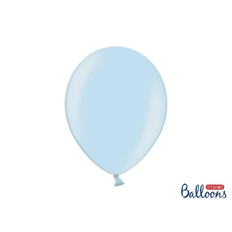 Ballons forts 30cm bleu bébé métallisé