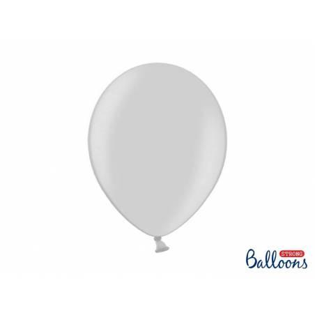 Ballons forts 30cm neige métallique argentée