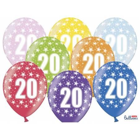 Ballons 30cm 20e anniversaire mélange métallique