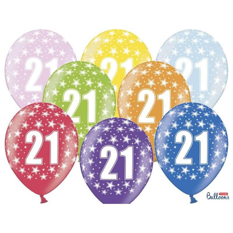 Ballons 30cm 21e anniversaire mélange métallique
