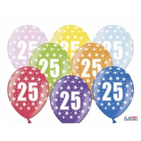 Ballons 30cm 25e anniversaire mélange métallique