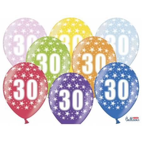 Ballons 30cm 30e anniversaire mélange métallique