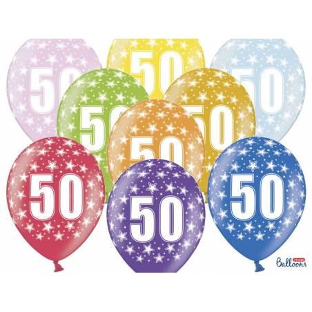 Ballons 30cm 50e anniversaire mélange métallique
