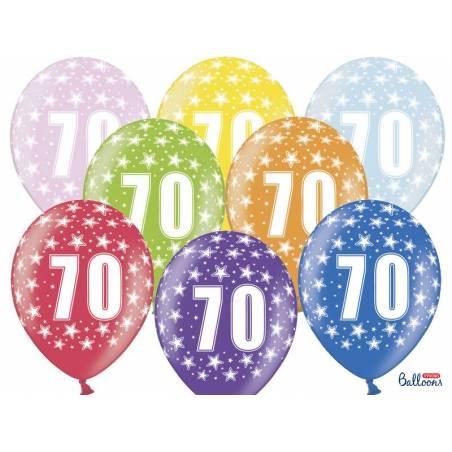 Ballons 30cm 70e anniversaire mélange métallique