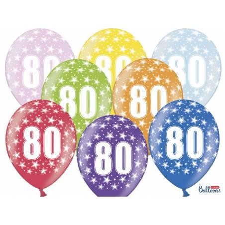 Ballons 30cm 80e anniversaire mélange métallique