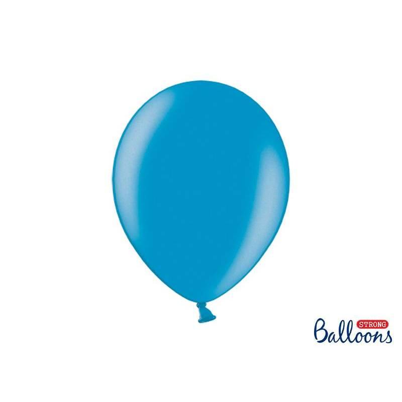 Ballons forts 30cm bleu métallisé des Caraïbes