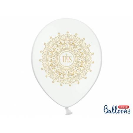 Ballons 30cm IHS Blanc pur métallique