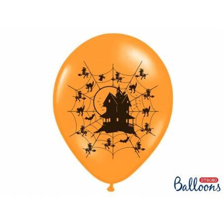 Ballons 30cm maison hantée orange pastel