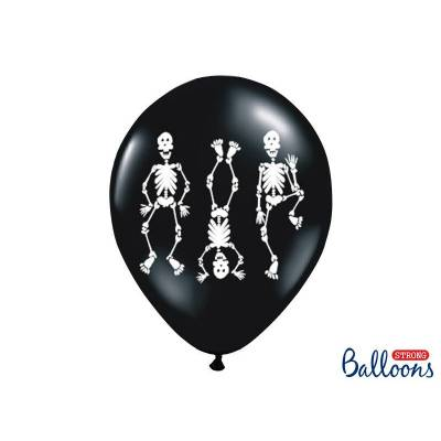 Ballons 30cm squelettes noir pastel