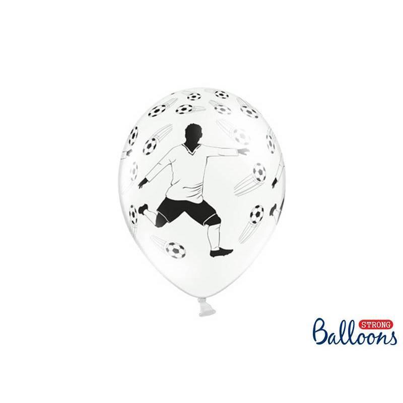 Ballons 30cm footballeur et balles pastel blanc pur