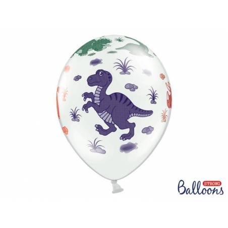 Ballons 30cm Dinosaures Pastel Blanc Pur