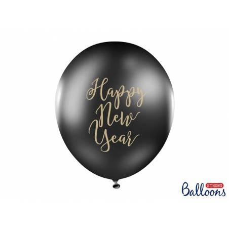 Ballons 30cm Happy New Year Noir Pastel
