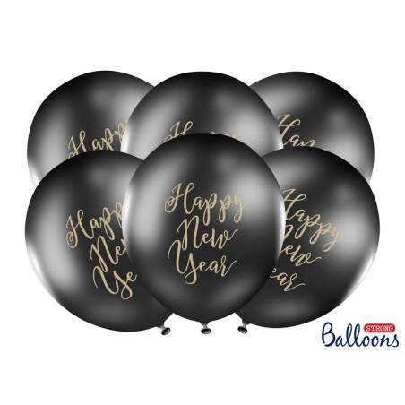 Ballons 30cm bonne année noir pastel