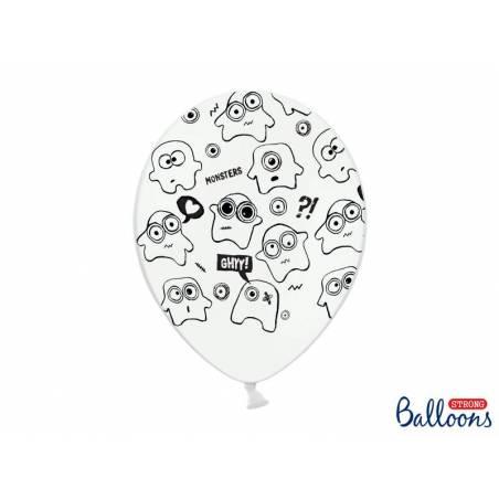 Ballons 30cm Monstres Pastel Blanc Pur