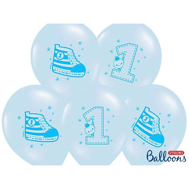 Ballons 30cm Sneaker - Numéro 1 Bleu Pastel