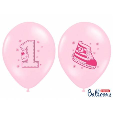 Ballons 30cm Sneaker - Numéro 1 Rose Pastel