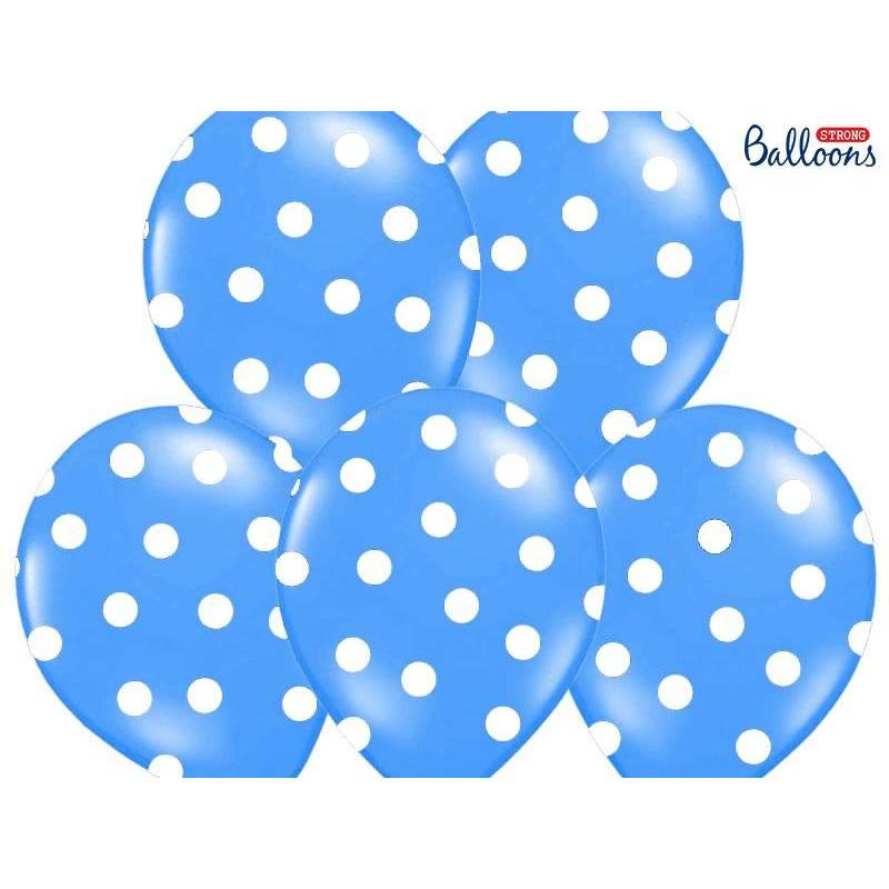 Ballons 30cm pois bleuet bleuet pastel