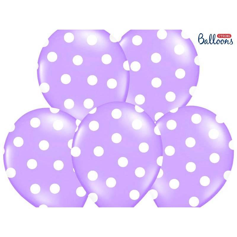 Ballons 30cm pois bleu pastel lavande
