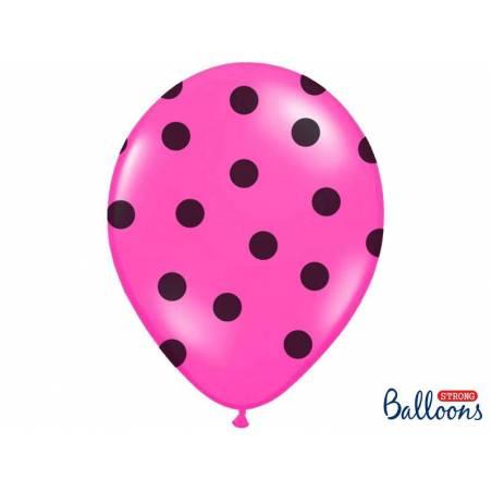 Ballons 30cm pois rose vif pastel