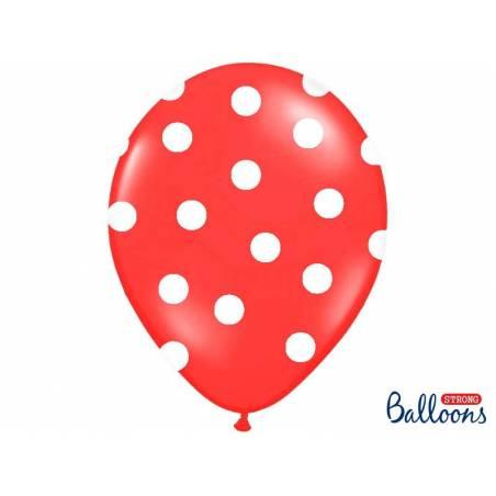 Ballons 30cm pois rouge pavot pastel