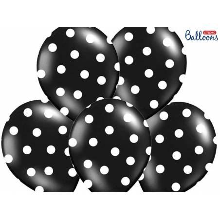 Ballons 30cm pois noir pastel